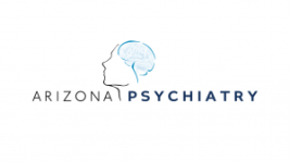 This is the Arizona Psychiatry logo , it is stenciled words Arizona Psychiatry with a face and a brain in the background.